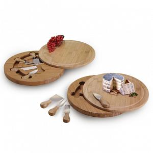 Natural Living Bamboo Cheese Board & Knife Set